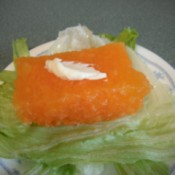 square of jello on lettuce