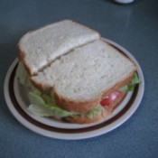 Cut Tomato Sandwich on plate