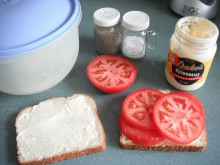 Tomato and mayonnaise on bread