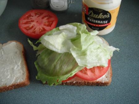 Open Tomato Sandwich with lettuce