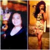 A before and after weight loss photo of Atossa.