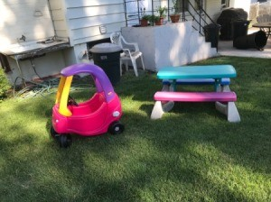 Brightly colored plastic outdoor toys.