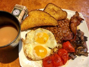 full English breakfast on plate