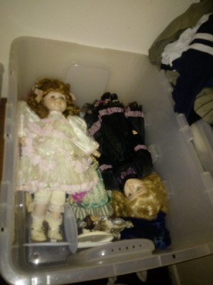 Value of Old Dolls - two dolls in a plastic storage box