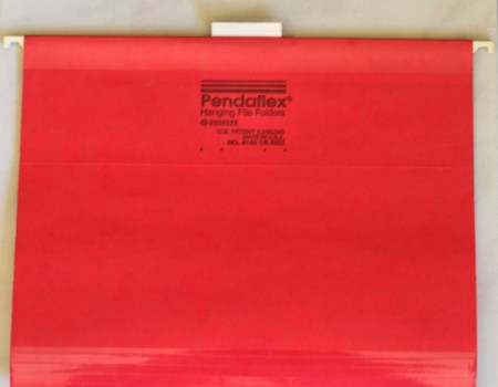 A red hanging file folder.