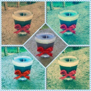 Recycled Shot Glass Candle - collage image of five shot glass candles
