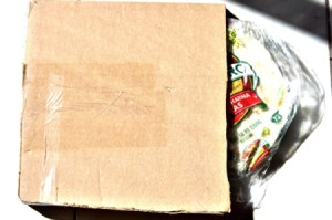 A cardboard package to store tortillas in the freezer.