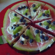 Watermelon Dessert Pizza on plate