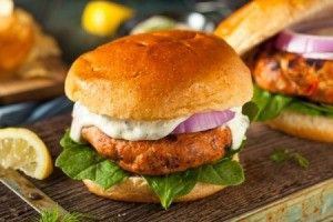 Salmon patty burger.