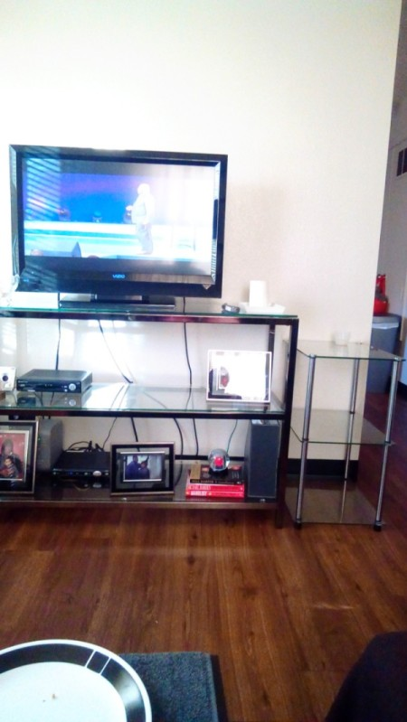 Living Room Paint Color Advice - TV on shelves against white wall