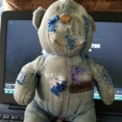 Value and Information on Stuffed Bear - very worn out denim stuffed bear
