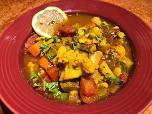 bowl of Moroccan Vegetable and Bean Soup