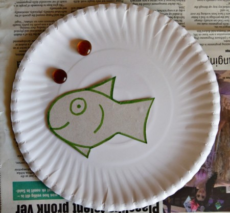 Under the Sea Kids Craft - add two glass pebbles as bubbles