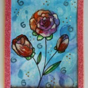 Watercolor Roses Birthday Card - finished card with pink glitter foam frame