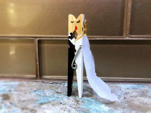Bride and Groom Clothespin Decor - fun wedding decor piece