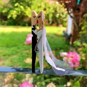 Bride and Groom Clothespin Decor - ready for the big kiss