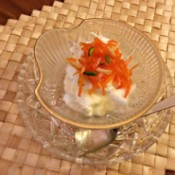 Cardamom Carrot Nut Jam on yogurt in bowl