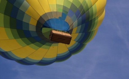 A colorful hot air balloon in the sky.