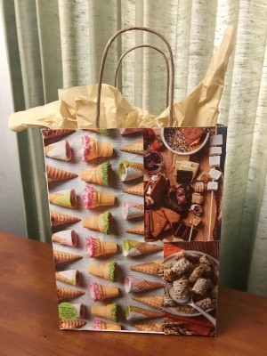 Upcycle a Kraft Paper Store Bag - finished bag with tissue paper inside