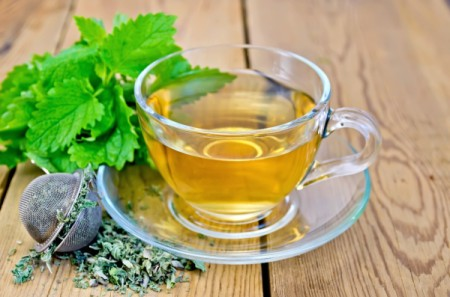 cup of lemon balm tea with fresh and dried leaves