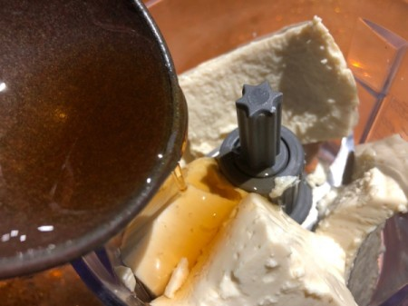 Tofu and maple syrup in food processor