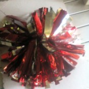 DIY Cheering Pom Poms  - finished red and silver pom pom