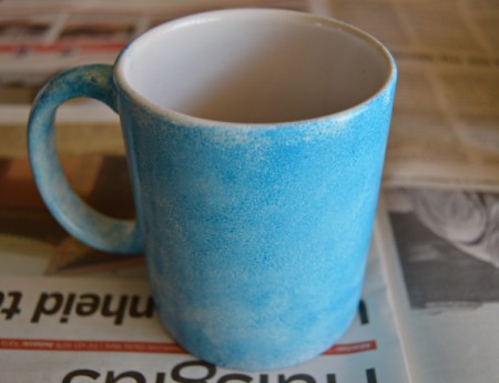 Mug Turned Colorful Candle Holder - use sponge and paint the outside and the handle; allow to dry