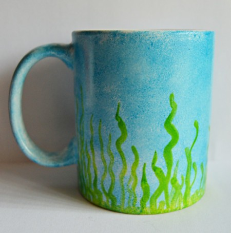 Mug Turned Colorful Candle Holder - add grass using the emerald glaze, allow to dry