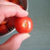 A ripe cherry tomato.