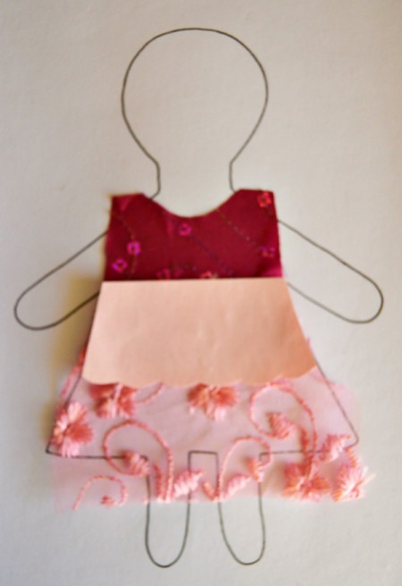 Flower Girl Kid Collage Activity - cut the dress parts and glue in place on the outline drawing