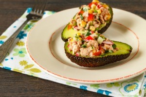 Tuna salad in an avocado.