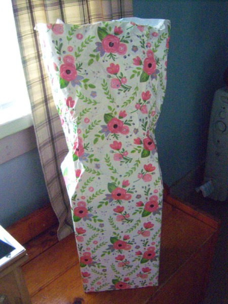 Flower Gift Wrapping - wrap gift as usual but leave paper longer on top