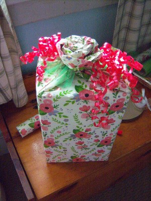 Flower Gift Wrapping - finished gift