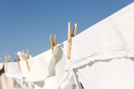 White clothes drying on the line.