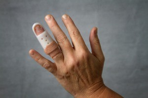 Hand with a finger splint.