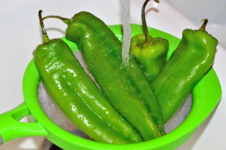 washed chili peppers