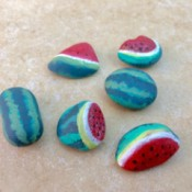 Watermelon Stone Paperweights - finished watermelon stones