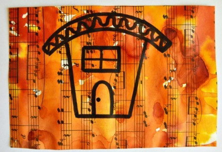 Naïve House Unisex Birthday Card - cut sheet music to size and draw the house