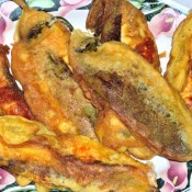 cooked breaded peppers