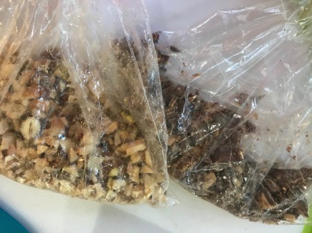 chopped nuts and chocolate in plastic bags