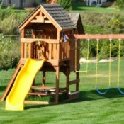 Child's outdoor Play Set on grass.