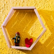 Honeycomb Shadow Shelf - shelf on wall with two items displayed