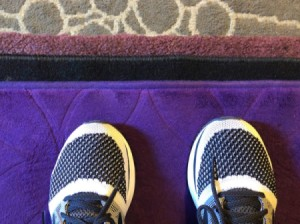 Floor mats stacked on top of each other for padding when exercising.