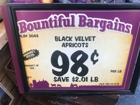 A price tag at a grocery store for apricots for 98 cents.