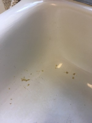 Removing Tiger Glue Spill from Sink - glue spots in white sink