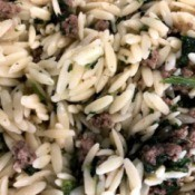 Spinach Beef With Orzo pasta