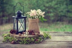 Wedding table center piece in rustic style