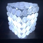 Upcycled Plastic Bottle Cap Light - with lights lit