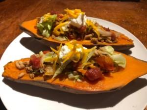 Taco Stuffed Sweet Potatoes with garnish