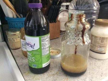 lemon juice and molasses in quart jar